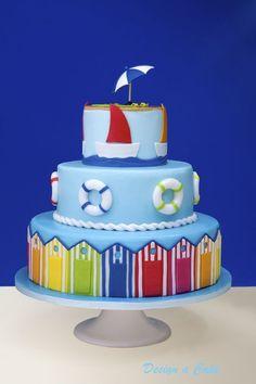 nautical, beach, summer, cabana cake