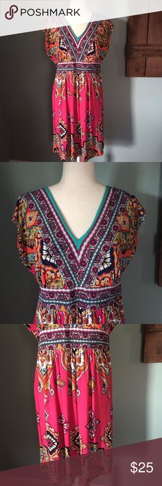 """Kiara Boho V Neck Pink Dress Large EUC This Kiara dress is in excellent condition.  It is size large with the following measurements: Length 36"""", Bust 19"""" flat, Waist 16"""" flat.  It is 95% polyester and 5% spandex. It has a v neck in the front as well as in the back.  It has a pink background with a multi-color print using orange, yellow, red, black, white and green. Kiara Dresses"""