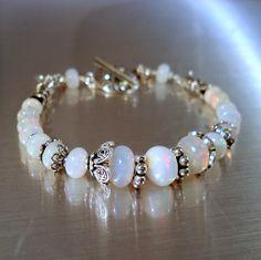 Opal Bracelet Ethiopian Fire Opals and Oxidized by JewelryByJacoby,
