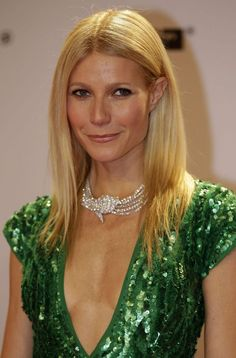 Best thing about a flat chest, plunging necklines... love this green one on Gwyneth Paltrow