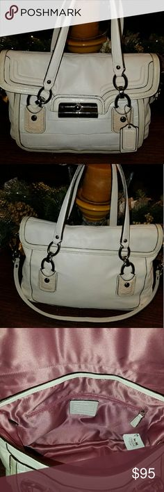 REDUCED! NWT! Coach Kristen leather purse 18282 Beautiful coach kristin leather Spectator bag in saffiano leather.  Brand new with tags still attached.  Never used.  Has small transfer mark in front.  I'm sure it can be removed, but in not a rehab expert and I don't want to mess it up! Medium to large size.  Absolutely immaculate, just not big enough for me.  I love giant totes. Color is called parchment. Coach Bags Satchels
