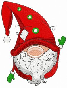 Gnome in red phrygian cap and boots machine embroidery design. - Gnome in red phrygian cap and boots machine embroidery design. Christmas Rock, Christmas Gnome, Christmas Images, Christmas Holidays, Machine Embroidery Patterns, Embroidery Patches, Embroidery Materials, Learning To Embroider, Illustration Noel