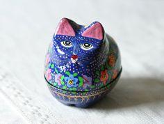 kitty #cat trinket #box / blue floral #wood
