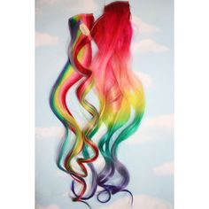 Rainbow Human Hair Extensions. Colored Hair Extension Clip, Hair Wefts, Clip in Hair, Tie Dye Hair Extensions, Dip Dyed Hair found on Polyvore-