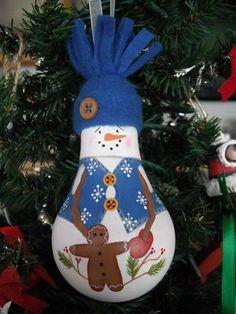 Pupazzi di neve natalizi con lampadine usate n.3