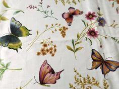 "Vintage Tablecloth Butterflies Flowers Pattern Print 68x52"""