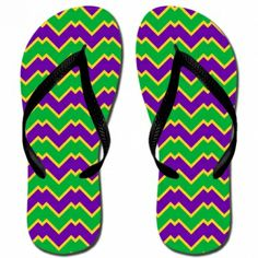Katydid Mardi Gras Chevron Fashion Women's Flip Flop  Designed by Katydid  flip flops are unisex sizing.  please note that women's will run wide. sizes :  XS (Women's 5-6)  S (Women's 7-8)  M (Women's 9-10)  L (Women's 11-12)  rubber straps and sole