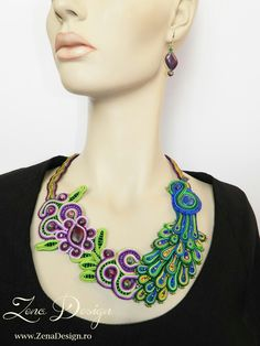 Soutache necklace - peacock