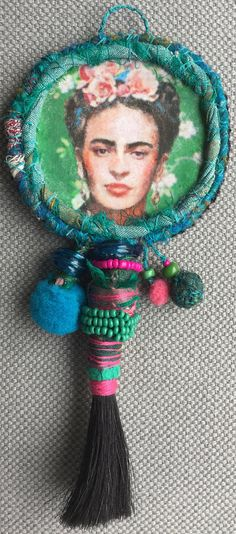 Textile picture tribute to Frida Kahlo jewel memory blue