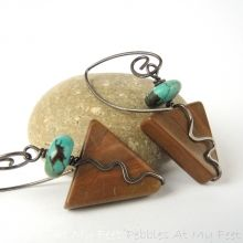 Wood Jasper Earrings in Antiqued Sterling Silver