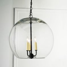 "16"" Clear Glass Sphere Chandelier  Possible Stairwell Light $279"