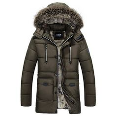 Winter Outdoor Thicken Warm Multi Pockets Detachable Hood Jacket For Men is Warm - NewChic Mobile Mens Winter Parka, Hooded Winter Coat, Hooded Parka, Hooded Jacket, Winter Jackets, Bomber Jacket, Parka Men, Hooded Coats, Men's Jackets