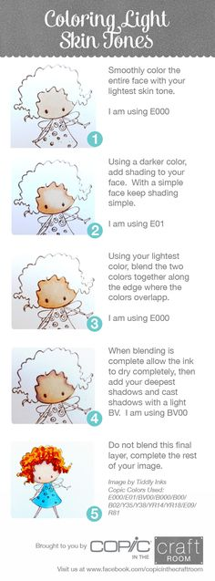 Quick easy steps to coloring light skin tones.