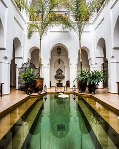 A courtyard is considered a place which can either be a retreat, a royal garden or a sanctuary. An individual should create a difference and enhance the beauty of his courtyard garden so that it becomes attractive and leaves a… Continue Reading → Exterior Design, Interior And Exterior, Beautiful Homes, Beautiful Places, Riad Marrakech, Piscina Interior, Muslim Culture, Moroccan Interiors, Moroccan Design