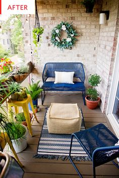 Before And After This Small Balcony Was Turned Into A 700 Second Living Room Small Balcony Outdoor Seating Area Design Photos Apartment Therapy Front Porch Seating, Small Front Porches, Outdoor Seating Areas, Outdoor Rooms, Outdoor Benches, Outdoor Lounge, Apartment Balcony Decorating, Apartment Balconies, Cool Apartments
