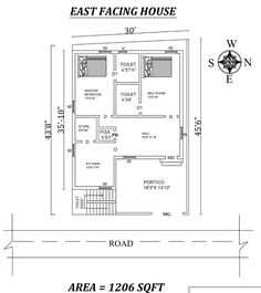 The Perfect East facing House Plan As Per Vastu Shastra.Autocad DWG and Pdf file details. 2bhk House Plan, Small House Floor Plans, Simple House Plans, Model House Plan, House Layout Plans, Simple House Design, Dream House Plans, 2 Bedroom House Plans, 30x50 House Plans