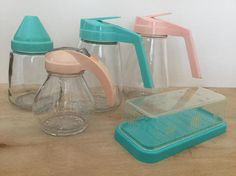 Vintage Glass Syrup Dispensers Pink and Aqua Eagle Butter