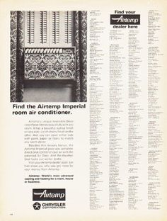 "Description: 1966 CHRYSLER AIR CONDITIONER vintage magazine advertisement ""Find the Airtemp"" -- Find the Airtemp Imperial room air conditioner ... Find your Airtemp dealer here -- Size: The dimensions of the full-page advertisement are approximately 10.5 inches x 13.5 inches (26.75 cm x 34.25 cm). Condition: This original vintage full-page advertisement is in Excellent Condition unless otherwise noted."