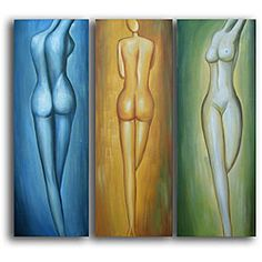 Hand-painted 'Female Figures' Canvas Art 48x48
