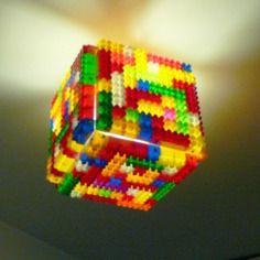 """Plafonnier réalisé avec des briques de recuperation style """"lego"""" Lego Creations, Legos, Cube, Art Projects, Pokemon, Diy, Saga, Create, Inspiration"""