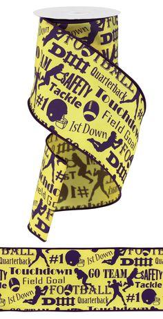 "4"" X 10YD FOOTBALL RIBBON #football #ribbon #LSU #craigbachman"