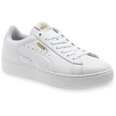 Puma  Women's Vicky Platform Sneaker ($70) ❤ liked on Polyvore featuring shoes, sneakers, white, white platform shoes, platform shoes, white low top shoes, white suede shoes and puma trainers