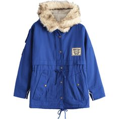 Patchwork Faux Fur Trim Hooded Shearling Coat Deep Blue ($30) ❤ liked on Polyvore featuring outerwear, coats, sheep fur coat, dark blue coat, shearling coat, patchwork coat and blue coat