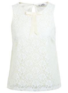 2b50c82f49155 Petites Lace Bow Shell Top - Lace - Clothing - Miss Selfridge