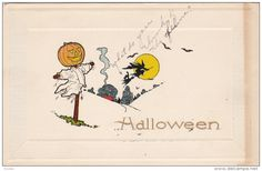 HALLOWEEN: Jack O´Lantern watches witch fly , 00-10s - Delcampe.com