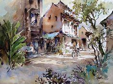 Singapore Cross Street Ng Woon Lam Watercolour Painting
