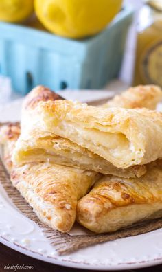 Lemon Cream Turnovers Recipe ~ This easy lemon cream turnover recipe uses only 6 ingredients, making them a quick and easy breakfast, snack or dessert! Lemon Dessert Recipes, Lemon Recipes, Brunch Recipes, Easy Desserts, Baking Recipes, Delicious Desserts, Breakfast Recipes, Yummy Food, Easy Sweets
