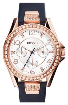dbb1c4967151 Fossil  Riley  Chronograph Leather Strap Watch