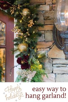Trying to hang garland outside and running into issues? Here's how I hang my garland (even the heavy kind! Outdoor Christmas Garland, Outdoor Garland, Christmas Garden Decorations, Christmas Wreaths, Garland Hanger, Hanging Garland, Christmas Home, Christmas Ideas, Xmas