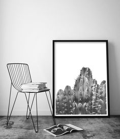 Cactus Art | Desert Home Decor | Desert Landscape | Black and White Cactus Print | Boho Decor | Cactus Wall Art | Bohemian Art. Art Print by Little Ink Empire