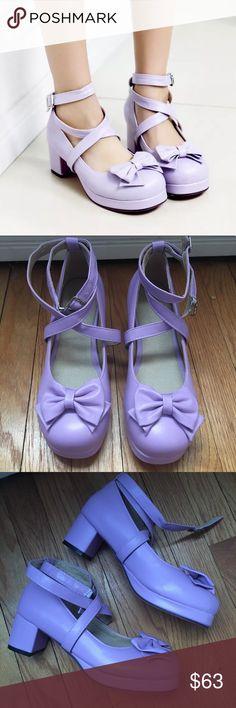 Pastel Purple Lavender Lolita Shoes Lavender pastel purple offbrand sweet lolita shoes with bows. Size 7 or 7.5 USA. Full description in last photo. Shoes