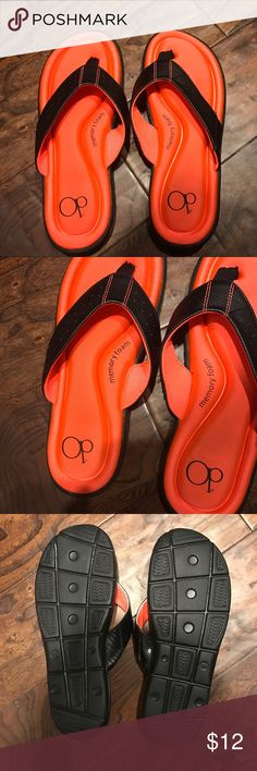 OP Memory Foam Flip flops Brand new without tags!! Tore tags off and tried them on and lost my receipt so✌🏼 bottom says 7/8. As you can see they are perfect condition! Color reminds me of a sunset! 🌅 Shoes