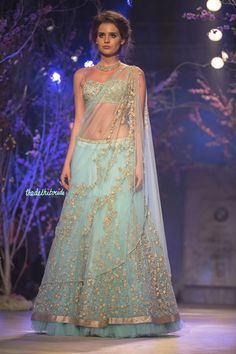 Sky blue light lehenga what to wear on engagement Jyotsna Tiwari India Bridal Fashion Week 2014