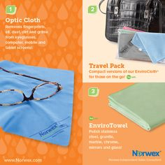 Norwex (1) Optic Cloth, (2) Travel Pack, (3) EnviroTowel . For Facebook parties, online events and marketing.