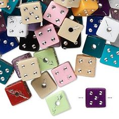 Bead mix, acrylic, assorted colors, 8x8mm dice. Sold per 75-gram pkg, approximately 160-180 beads.