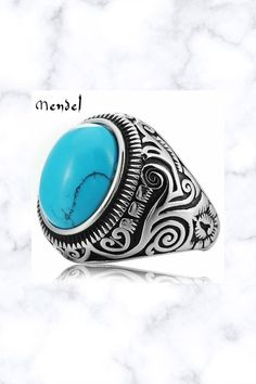 Native Indian Mens Oval Turquoise Ring Stainless Steel