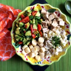 Salsa, salad potatoes in cashew mayo, hearts of plans and marinated tofu
