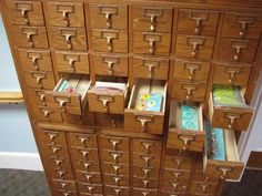 One day, my dad will give me his old chest with these library drawers.