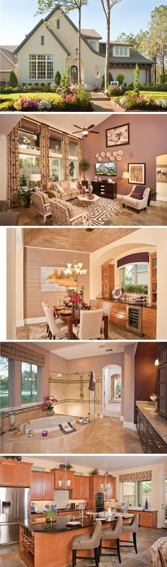 The Ardell  by David Weekley Homes in The Woodlands is a 4 or 5 bedroom home that features a covered porch, tray ceilings and an open kitchen and family room layout. Custom home upgrades include a breakfast nook, an outdoor living space, or a TV niche on the second story.