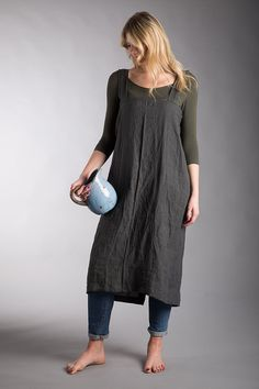 Pure Linen  Apron/Charcoal Grey Washed Linen