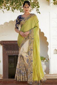 Green and #Cream #Saree @ http://www.indiandesignershop.com/product/perfect-green-cream-saree/