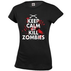 Keep Calm and Zombie T Shirt Women's Juniors Sizes ($13) ❤ liked on Polyvore