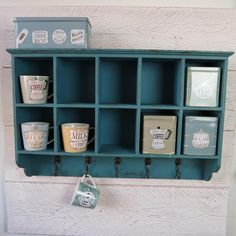 Shabby Chic Wooden Vintage Pigeon Hole Cupboard Cabinet Shelves Storage Blue | eBay
