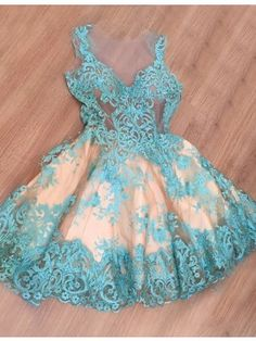 A-Line Jewel Illusion Back Blue Tulle Short Prom Homecoming Dress with Lace