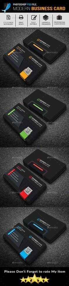 Business Card #Dark #Version - #Business Cards Print Templates