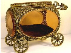Antique  jewelry casket Amber glass Queen's by vintagesparkles, $265.00